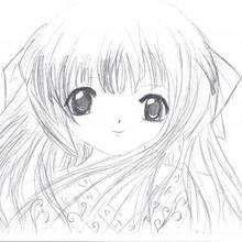 Dessin d'enfant : Jeune fille façon Manga