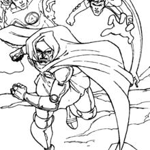 Coloriage de Fatalis fuit - Coloriage - Coloriage SUPER HEROS - Coloriage LES 4 FANTASTIQUES - Coloriage FATALIS