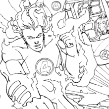Coloriage de Johnny qui flambe