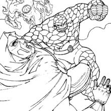 Coloriage de Fatalis en péril - Coloriage - Coloriage SUPER HEROS - Coloriage LES 4 FANTASTIQUES - Coloriage FATALIS