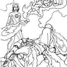 Coloriage de Fatalis vaincu - Coloriage - Coloriage SUPER HEROS - Coloriage LES 4 FANTASTIQUES - Coloriage FATALIS