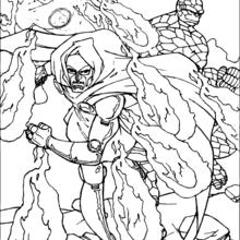 Coloriage de Fatalis en feu - Coloriage - Coloriage SUPER HEROS - Coloriage LES 4 FANTASTIQUES - Coloriage FATALIS