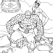 Coloriage de La Chose et Mister Fantastic - Coloriage - Coloriage SUPER HEROS - Coloriage LES 4 FANTASTIQUES - Coloriage MISTER FANTASTIC