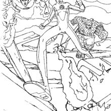 Coloriage de l'attaque des fantastiques - Coloriage - Coloriage SUPER HEROS - Coloriage LES 4 FANTASTIQUES - Coloriage LES 4 FANTASTIQUES GRATUIT