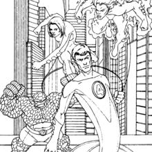 Coloriage des 4 Fantastiques à New York - Coloriage - Coloriage SUPER HEROS - Coloriage LES 4 FANTASTIQUES - Coloriages LES 4 FANTASTIQUES