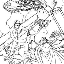 Coloriage de Mister Fantastic et Fatalis - Coloriage - Coloriage SUPER HEROS - Coloriage LES 4 FANTASTIQUES - Coloriage MISTER FANTASTIC