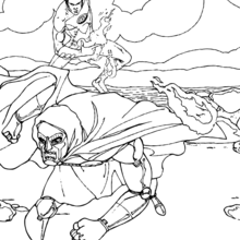 Coloriage de Fatalis et la Torche - Coloriage - Coloriage SUPER HEROS - Coloriage LES 4 FANTASTIQUES - Coloriage TORCHE HUMAINE