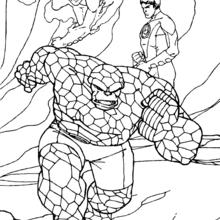 Coloriage de l'attaque - Coloriage - Coloriage SUPER HEROS - Coloriage LES 4 FANTASTIQUES - Coloriage LES 4 FANTASTIQUES GRATUIT