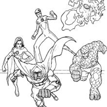 Coloriage de la poursuite de Fatalis - Coloriage - Coloriage SUPER HEROS - Coloriage LES 4 FANTASTIQUES - Coloriage FATALIS