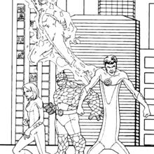 Coloriage de la sortie en ville - Coloriage - Coloriage SUPER HEROS - Coloriage LES 4 FANTASTIQUES - Coloriage LES 4 FANTASTIQUES GRATUIT