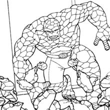 Coloriage de La chose - Coloriage - Coloriage SUPER HEROS - Coloriage LES 4 FANTASTIQUES - Coloriage LA CHOSE