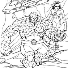 Coloriage des 4 Fantastiques explorant une planète - Coloriage - Coloriage SUPER HEROS - Coloriage LES 4 FANTASTIQUES - Coloriages LES 4 FANTASTIQUES