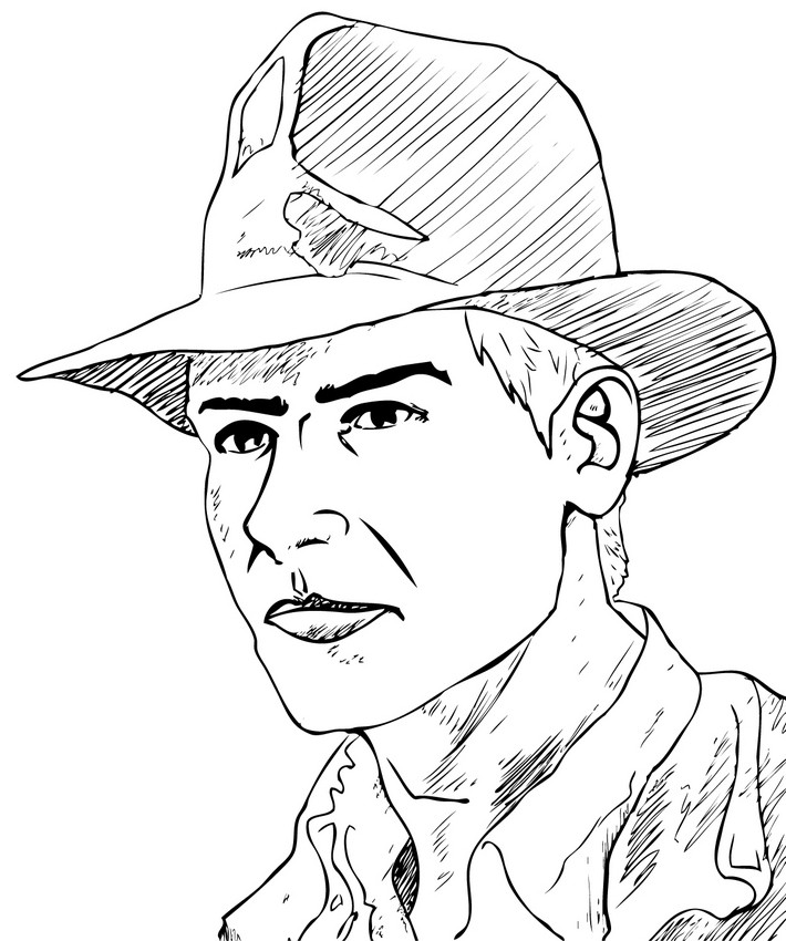 Coloriages coloriage indiana jones du visage d 39 indiana - Coloriage visage ...