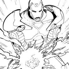 Coloriage de Iron Man qui se concentre