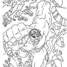 Coloriage de Hulk qui surgit d