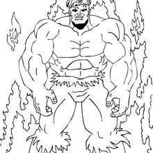 Coloriage de Hulk dans les flammes