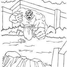 Coloriage de Hulk qui attaque - Coloriage - Coloriage SUPER HEROS - Coloriage de HULK - Coloriage HULK GRATUIT