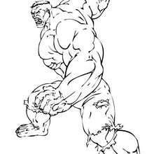 Coloriage de Hulk pret à cogner