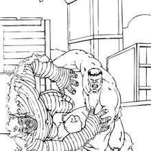 Coloriage de Hulk qui terrasse l'Abomination