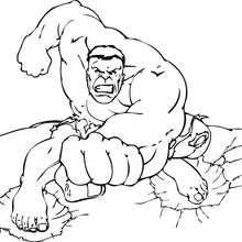 Coloriage de Hulk à l'attaque - Coloriage - Coloriage SUPER HEROS - Coloriage de HULK - Coloriage HULK GRATUIT