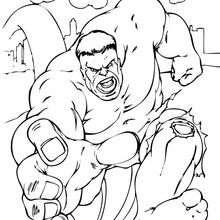 Coloriage de Hulk en pleine course