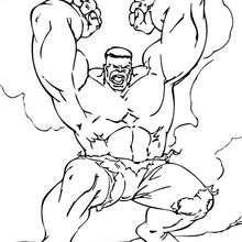 Coloriage de Hulk qui se déchaine - Coloriage - Coloriage SUPER HEROS - Coloriage de HULK - Coloriage HULK A IMPRIMER