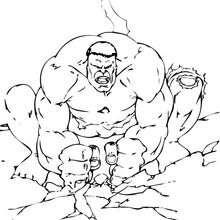 Coloriage de Hulk qui fait trembler le sol - Coloriage - Coloriage SUPER HEROS - Coloriage de HULK - Coloriage HULK A IMPRIMER