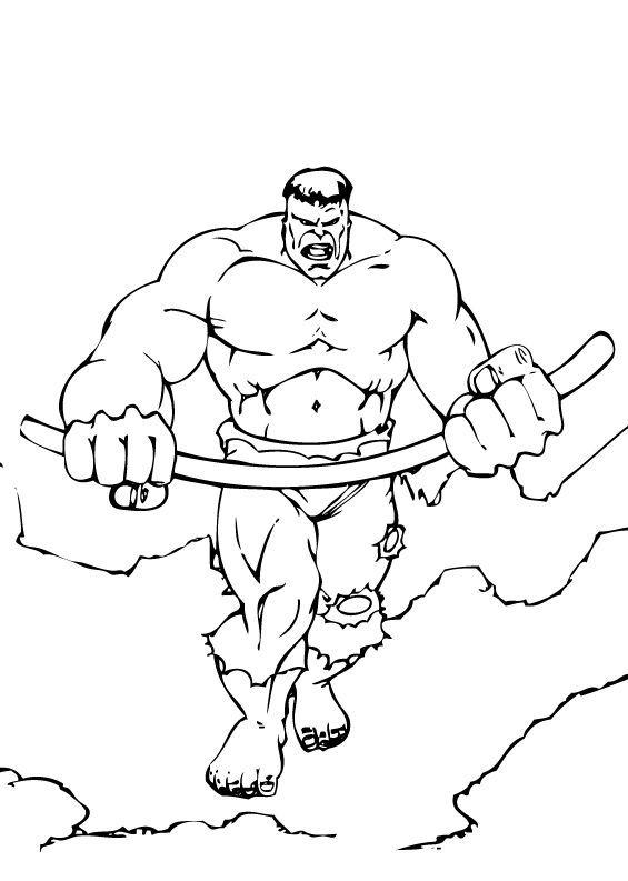 Coloriages coloriage de hulk tordant une baramine - Coloriage hulk gratuit ...