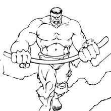 Coloriage de Hulk tordant une baramine