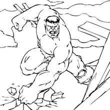 Coloriage de la destruction de Hulk - Coloriage - Coloriage SUPER HEROS - Coloriage de HULK - Coloriage HULK A IMPRIMER