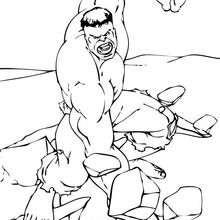 Coloriage de Hulk brisant le sol - Coloriage - Coloriage SUPER HEROS - Coloriage de HULK - Coloriage HULK A IMPRIMER