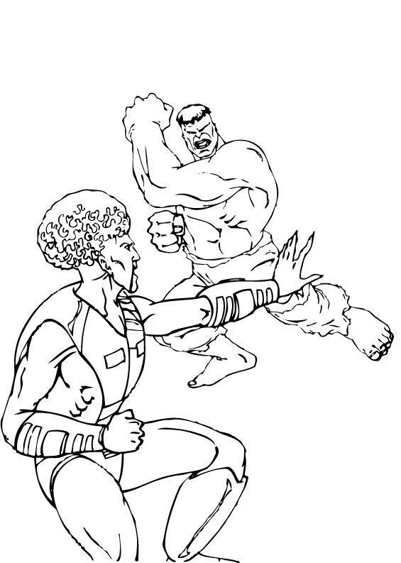 coloriage du leader contre hulk