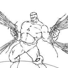 Coloriage de Hulk qui arrache des fils - Coloriage - Coloriage SUPER HEROS - Coloriage de HULK - Coloriages HULK