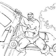 Coloriage de Hulk soulevant une voiture - Coloriage - Coloriage SUPER HEROS - Coloriage de HULK - Coloriages HULK