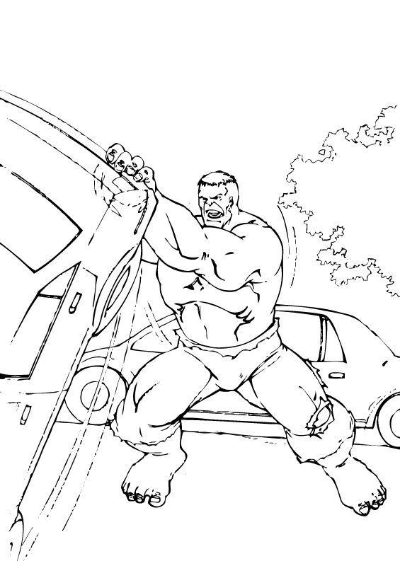 Coloriages coloriage de hulk soulevant une voiture - Coloriage hulk gratuit ...