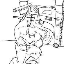 Coloriage de Hulk soulevant un tank