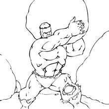Coloriage de Hulk qui lance un rocher - Coloriage - Coloriage SUPER HEROS - Coloriage de HULK - Coloriages HULK