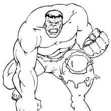 Coloriage de Hulk à genoux - Coloriage - Coloriage SUPER HEROS - Coloriage de HULK - Coloriages HULK