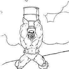 Coloriage de Hulk qui lance un baril
