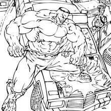 Coloriage de Hulk casseur une voiture - Coloriage - Coloriage SUPER HEROS - Coloriage de HULK - Coloriages HULK