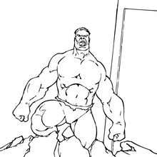 Coloriage de Hulk sortant du sol - Coloriage - Coloriage SUPER HEROS - Coloriage de HULK - Coloriages HULK