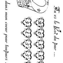 Coloriage Fête des pères: lettres coeur et montgolfière - Coloriage - Coloriage FETES - Coloriage FETE DES PERES - Coloriage CARTE FETE DES PERES