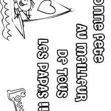 Coloriage Fête des pères: petit garçon dans un voilier - Coloriage - Coloriage FETES - Coloriage FETE DES PERES - Coloriage CARTE FETE DES PERES
