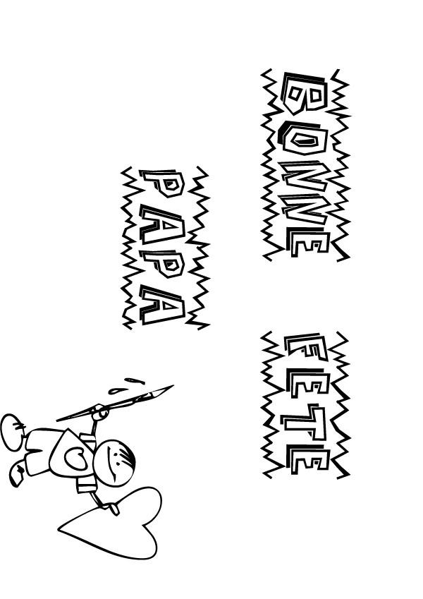 Coloriages coloriage f te des p res lettres au pinceau - Carte fete des peres a imprimer ...