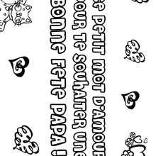 Coloriage Fête des pères: chat et coeurs - Coloriage - Coloriage FETES - Coloriage FETE DES PERES - Coloriage CARTE FETE DES PERES