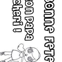 Coloriage Fête des pères: cadeau et petite fille - Coloriage - Coloriage FETES - Coloriage FETE DES PERES - Coloriage CARTE FETE DES PERES