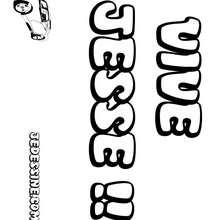 Jesse (garçon) - Coloriage - Coloriage PRENOMS - Coloriage PRENOMS LETTRE J