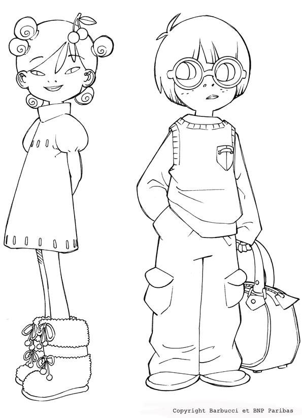Coloriage Manga Fille Et Garcon.Coloriages Coloriage De Aiko Et Leonard Fr Hellokids Com