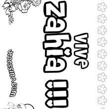 Zahia - Coloriage - Coloriage PRENOMS - Coloriage PRENOMS LETTRE Z