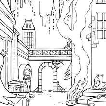 Coloriage : Batman dans Gotham City